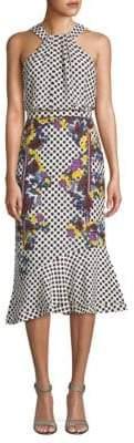 Saloni Ruby Floral Silk Midi Dress