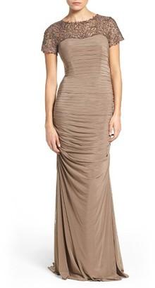 Women's La Femme Embellished Lace & Jersey Gown $519 thestylecure.com