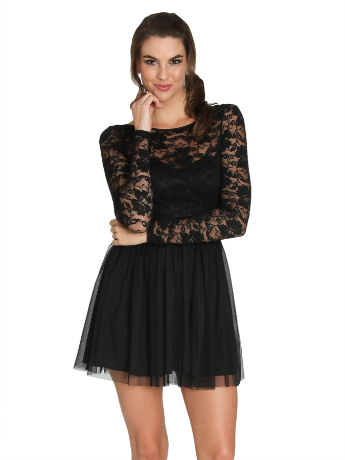 Arden B Twofer Flare Lace Dress