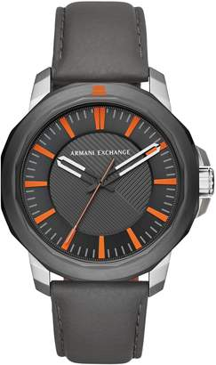 Armani Exchange Three-Hand Leather Strap Watch, 44mm x 52mm