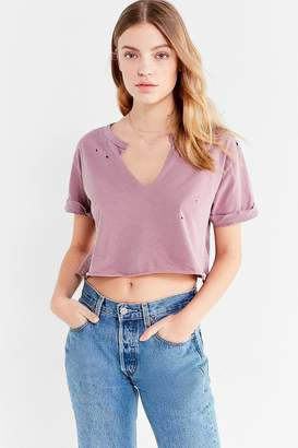 Truly Madly Deeply Notch Neck Cropped Tee