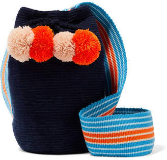 Lulu Sophie Anderson Pompom-embellished Woven Bucket Bag - Midnight blue