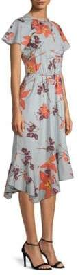 Etro Short Sleeve Cotton Floral Midi Dress