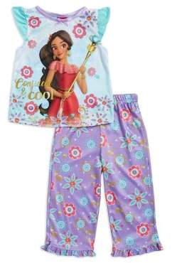 AME Sleepwear Little Girl's Two-Piece Moana Top and Floral Pajama Pants