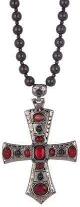 Steve Madden Red Crystal Cross Necklace