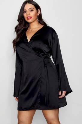 boohoo Plus Wrap Kimono Sleeve Dress