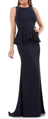 Carmen Marc Valvo Embellished Peplum Waist Crepe Gown
