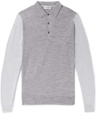 John Smedley Brightgate Slim-Fit Two-Tone Wool Polo Shirt