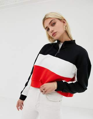 Noisy May color block sweat with zip