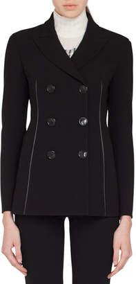 Akris Scott Double-Breasted Stretch-Wool Jacket w/ Leather Trim