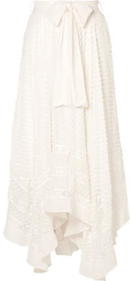 Zimmermann Hanky Lace-trimmed Swiss-dot Silk-georgette Skirt - White