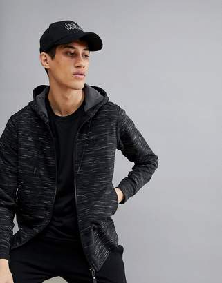 Jack Wolfskin Oceanside Hooded Space Dye Jacket In Black