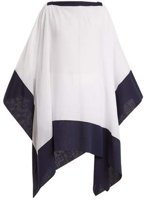 Casa Nata - Split Contrast Hem Cotton Poncho - Womens - White Navy