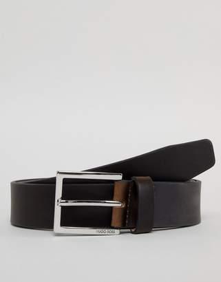 BOSS Cele leather belt in dark brown
