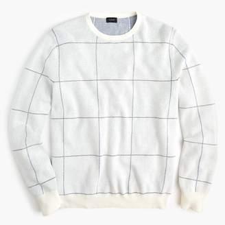 J.Crew Cotton-cashmere two-color crew neck sweater in windowpane