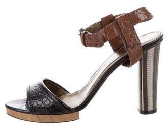 Lanvin Embossed Ankle-Strap Sandals