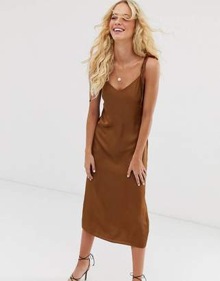 And other stories & slip dress with tie shoulder details in brown