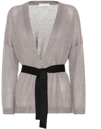 Brunello Cucinelli Sequinned linen and silk cardigan