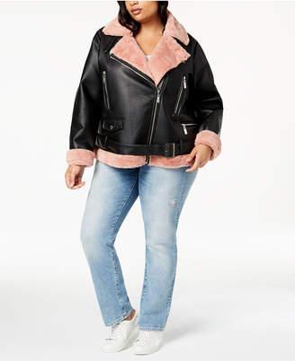 Joujou Jou Jou Juniors' Plus Size Faux-Fur-Lined Moto Jacket