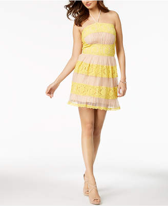Foxiedox Mixed Lace Halter Fit & Flare Dress