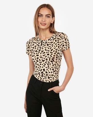 Express One Eleven Leopard Print Crew Neck Tee