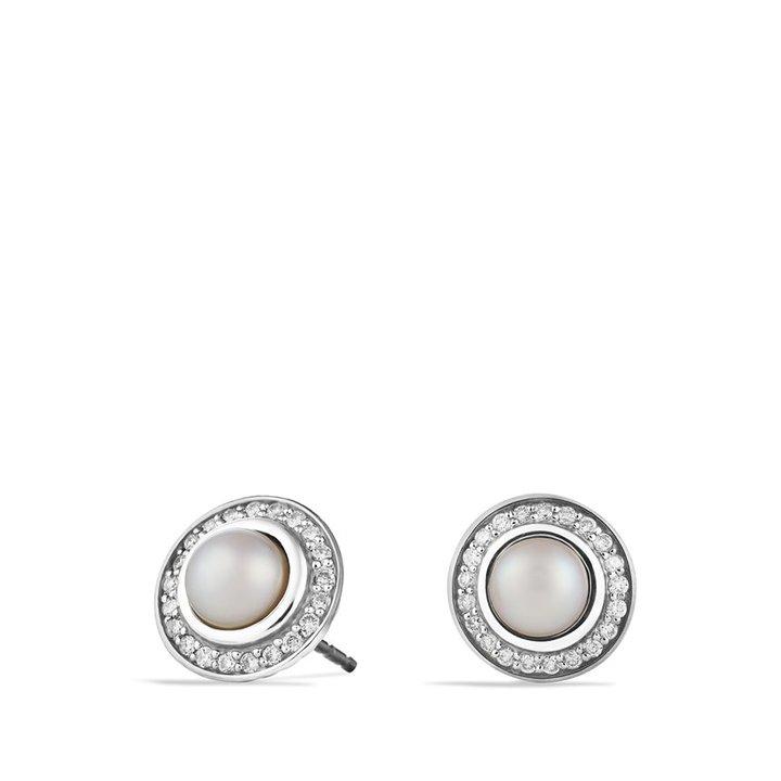 David Yurman Cerise Mini Earrings with Pearls and Diamonds