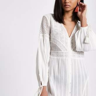 River Island Womens White button up embroidered dress