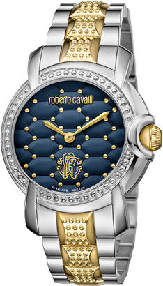 Roberto Cavalli By Franck Muller 36mm Two-Tone Studded Bracelet Watch, Blue