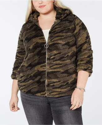 Planet Gold Plus Size Camo Fleece Hoodie