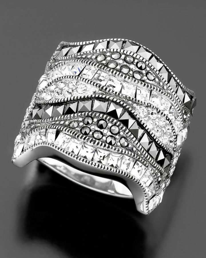 Judith Jack Sterling Silver Marcasite & Crystal Ring