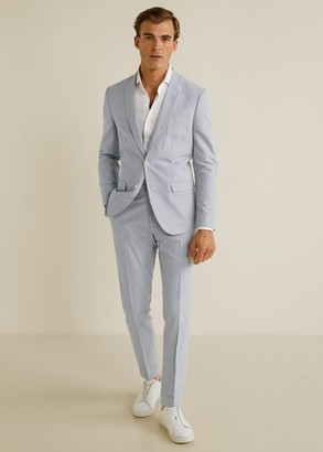 Super slim fit seersucker suit blazer