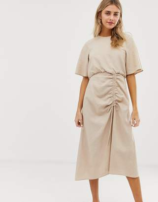 Asos Design DESIGN ruched skirt midi dress in linen