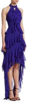Badgley Mischka Halter Ruffle Gown