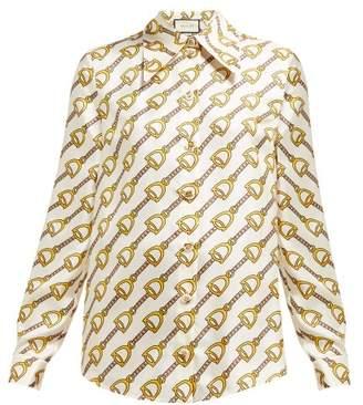 Gucci Horsebit Print Silk Twill Blouse - Womens - Ivory Multi