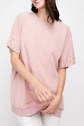 Easel Pearls-Distressed Tunic Top