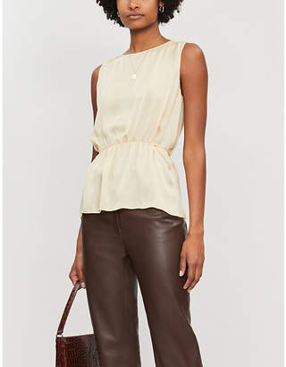 Theory Elasticated-waist silk tank top
