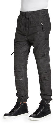 PRPS Relaxed-Leg Moto Jogger Pants, Gray $325 thestylecure.com