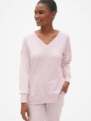 Gap Mix-Fabric Pullover V-Neck Sweatshirt
