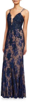 Jovani V-Neck Spaghetti-Strap Lace Column Gown