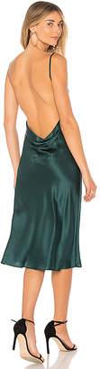 Amanda Uprichard Charmeuse Cowl Midi Slip Dress