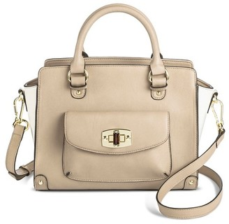 Merona Women's Two Tone Satchel Faux Leather Handbag with Front Pocket and Removable Shoulder Strap - Merona $39.99 thestylecure.com