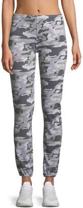 Monrow Camo-Print Full-Length Sweatpants