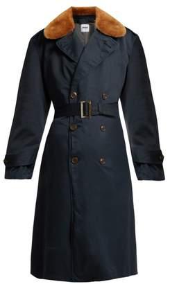 Myar - Double Breasted Wool Blend Gabardine Coat - Womens - Navy