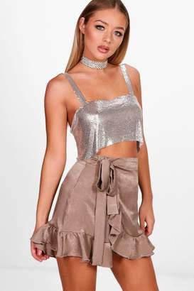 boohoo Tali Tie Waist Wrap Ruffle Sateen Mini Skirt
