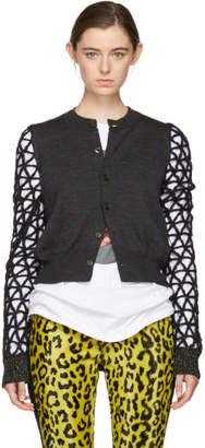 Junya Watanabe Grey and Black Geometric Sleeves Cardigan