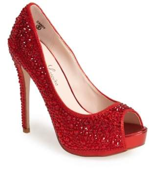 Ralph Lauren Lorraine 'Candy' Crystal Peep Toe Pump