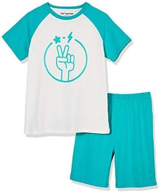 Kid Nation 100% Cotton Short Sleeve Sleepwear Printed Logo Lightweight Pajamas Sets for Boys and Girls M