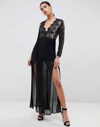 Rare London maxi dress with scalloped lace detail in black