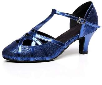 Minishion Women's Chunky Low Heel Black Glitter Salsa Tango Ballroom Latin Dance Shoes Wedding Pumps 10 US