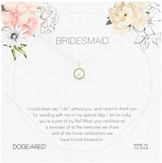 Dogeared Bridesmaid Flower Card Large Bezel Pearl Pendant Chain Necklace